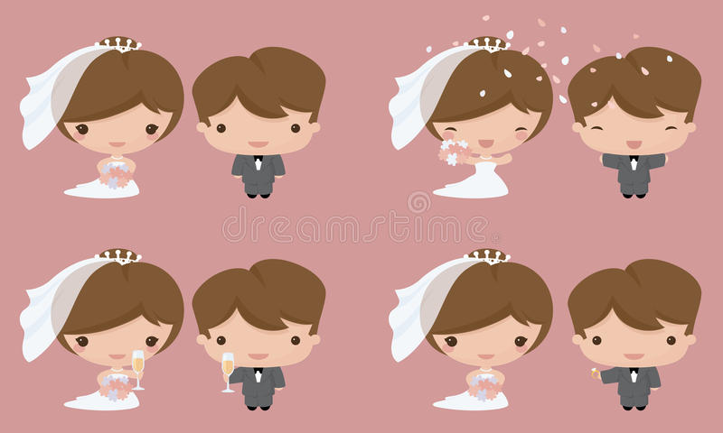 Kawaiibruid en Bruidegom royalty-vrije illustratie