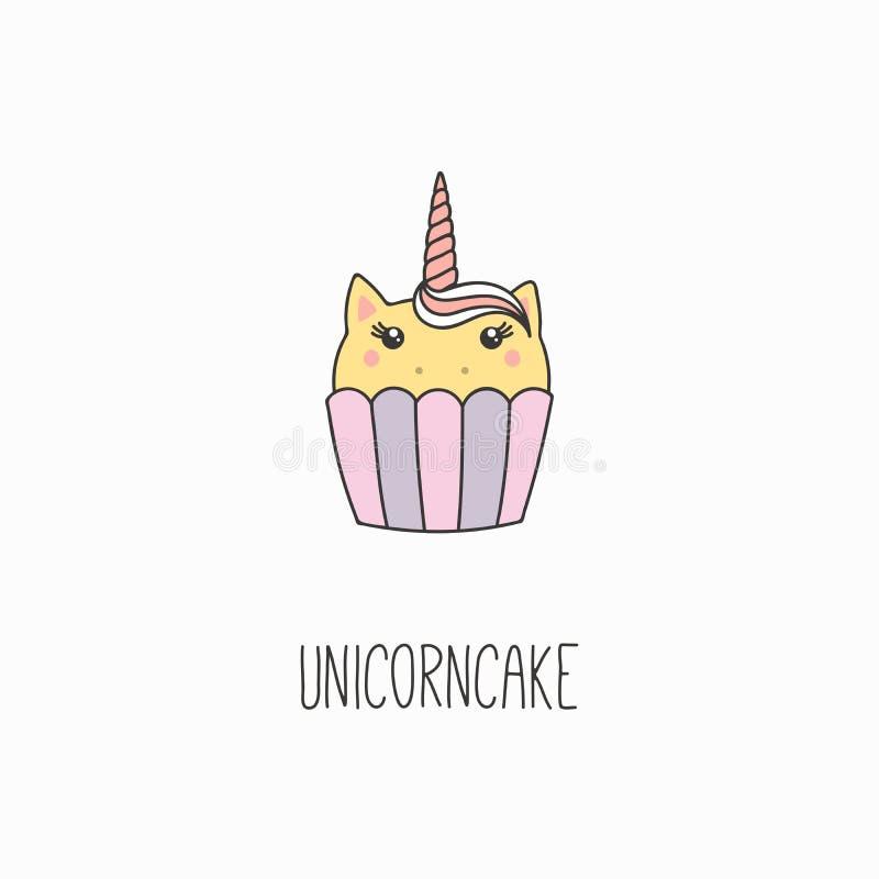 Kawaiieenhoorn cupcake stock illustratie