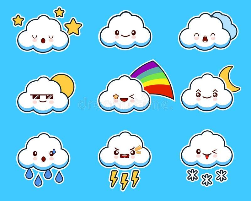 Kawaiikarakter van de beeldverhaal leuk wolk met verschillende gelaatsuitdrukkingen, emoties Reeks, inzameling van emoji op blauw stock illustratie