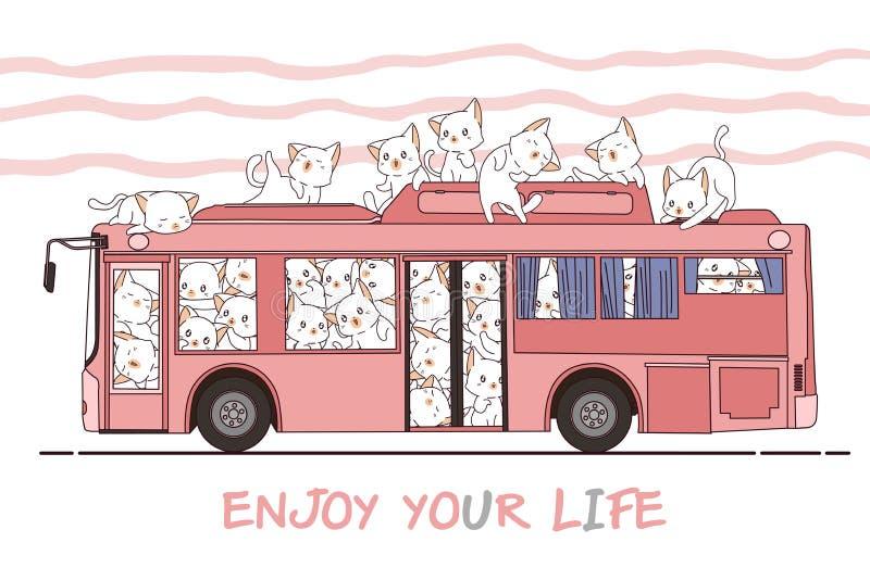 Kawaiikatten en bus stock afbeelding