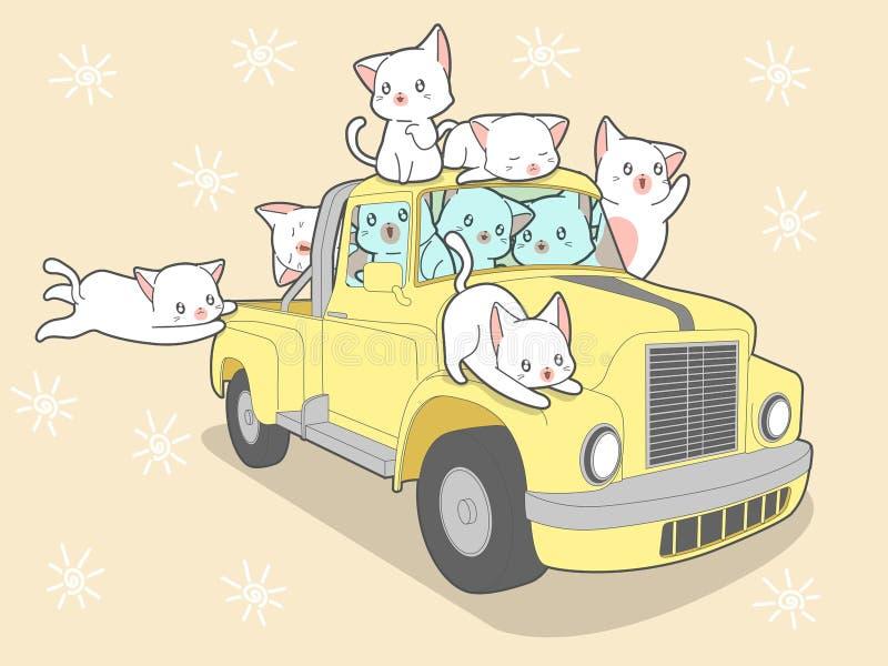 Kawaiikatten met auto in de zomervakantie stock foto's