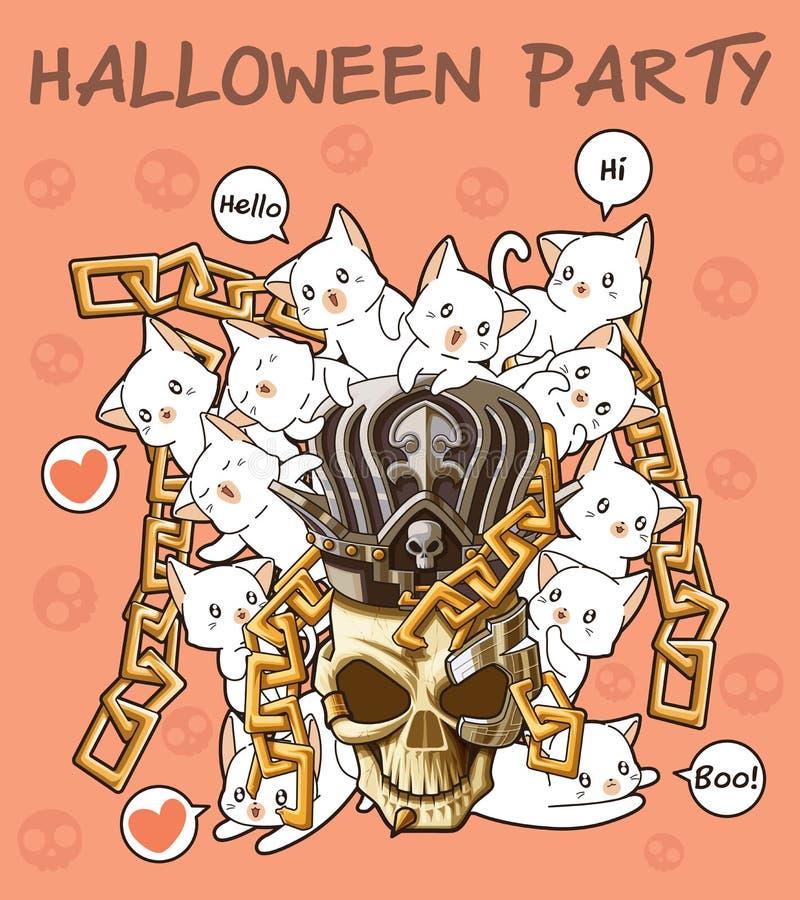 Kawaiikatten met schedel in Halloween-festival vector illustratie