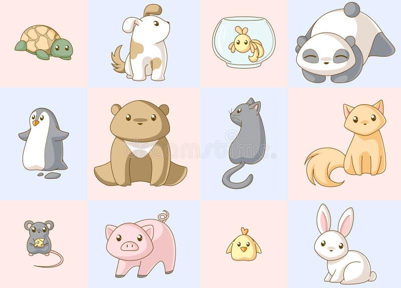 Kawaiireeks van dieren vector illustratie