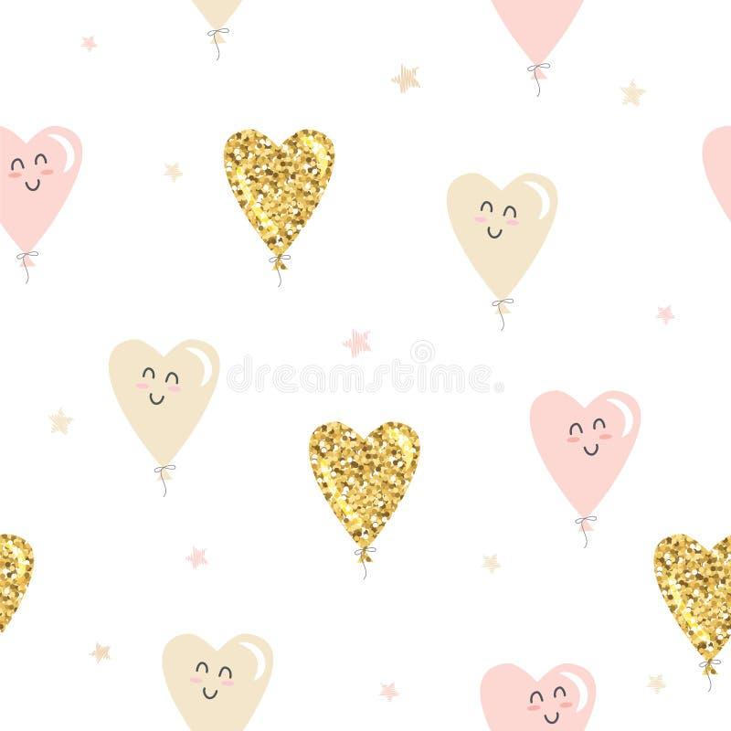Kawajskie balony serca — bezszwowe tło Złoty błyszczący, pastelowy różowy i beżowy kolor Za Walentynki, urodziny, dziecinko ilustracja wektor