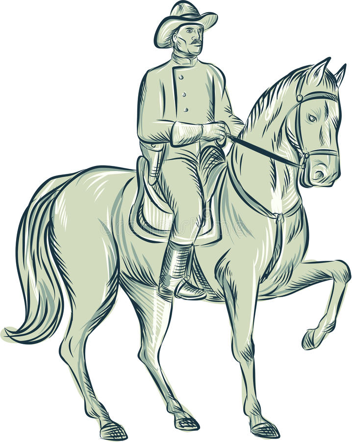Kawaleria Dowodzi Jeździeckiego konia akwafortę ilustracja wektor