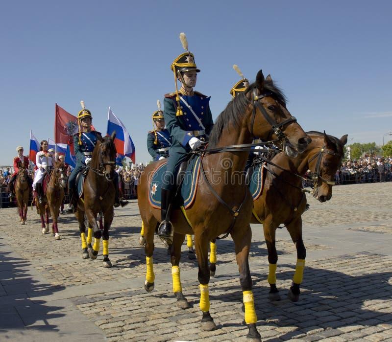 Kawaleria pokazuje w Moskwa obrazy royalty free