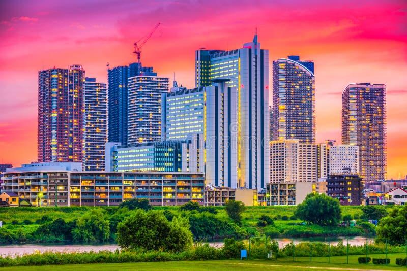 Kawasaki, horizonte de Japón imagenes de archivo