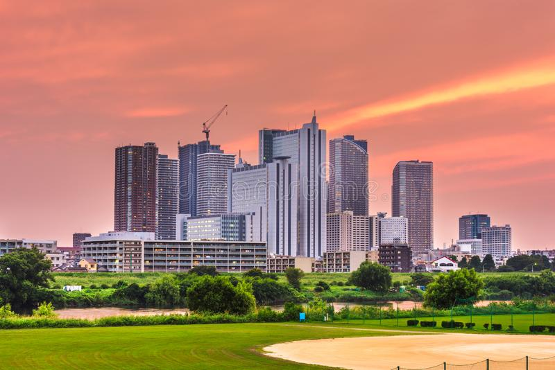 Kawasaki, Japan downtown city skyline. At dusk stock photos