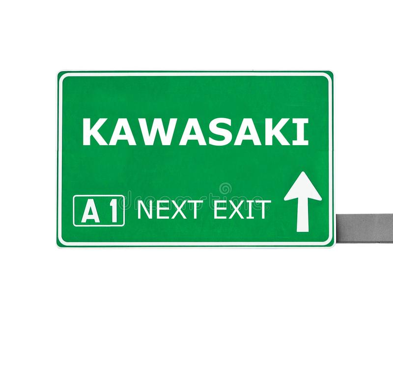 KAWASAKI-Verkehrsschild lokalisiert auf Weiß stockfotos