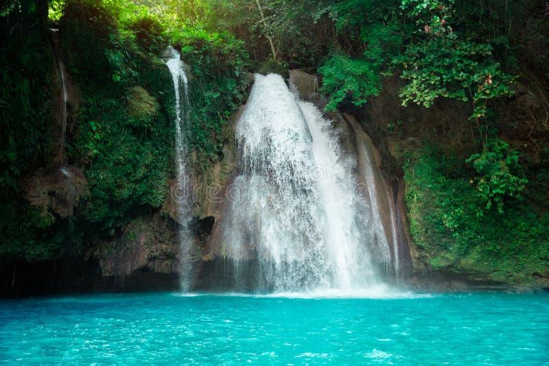 Kawasan vattenfall i en bergklyfta i den tropiska djungeln av Filippinerna, Cebu royaltyfri foto