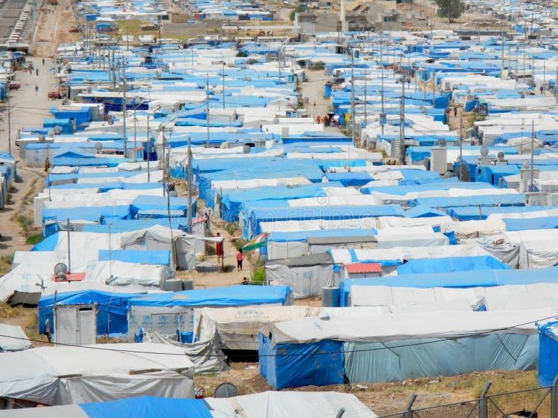 22 05 2017, Kawergosk, Irak : Zatłoczony obóz uchodźców w Irak z uchodźcami ucieka od JEST lub Islamski stan obrazy stock