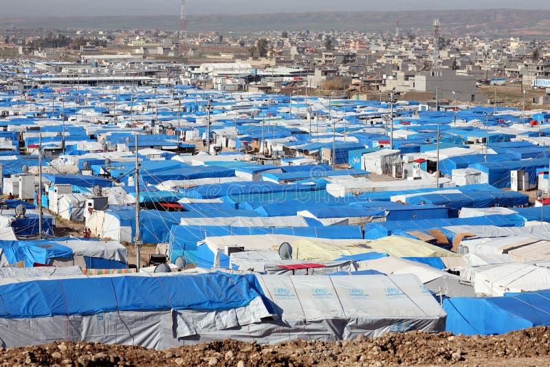 Kawergosk refugee camp. KAWERGOSK, IRAQ - FEBRUARY 11, 2016: Kawergosk refugee camp in Northern Iraq, Kurdistan Region of Iraq, mainly Kurdish refugees from royalty free stock photo