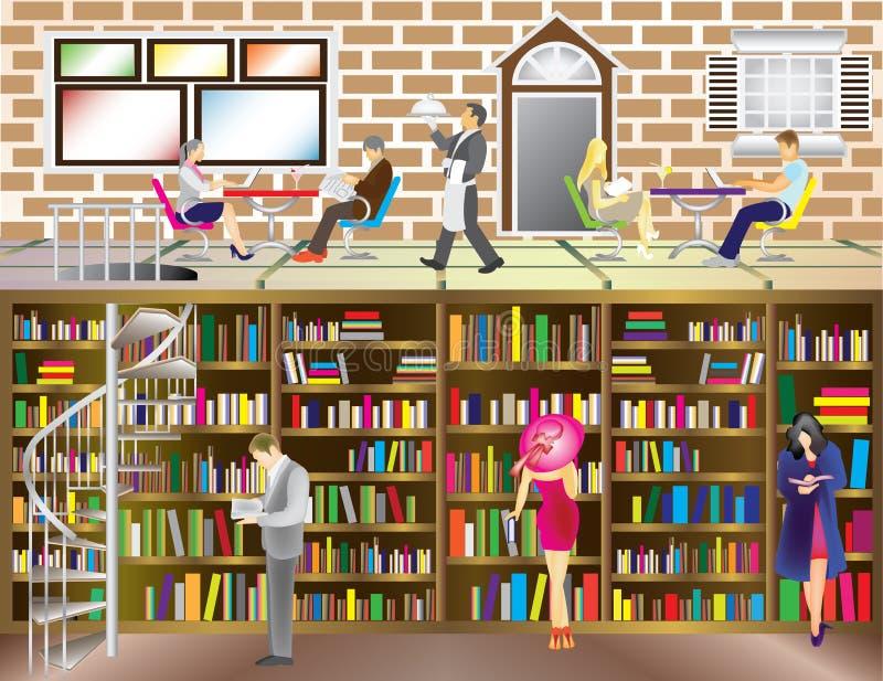 Kawiarni biblioteka ilustracja wektor