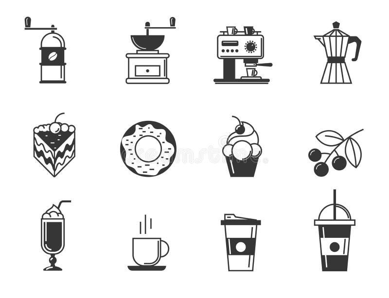 Kawiarni i ciasteczka ikony set royalty ilustracja