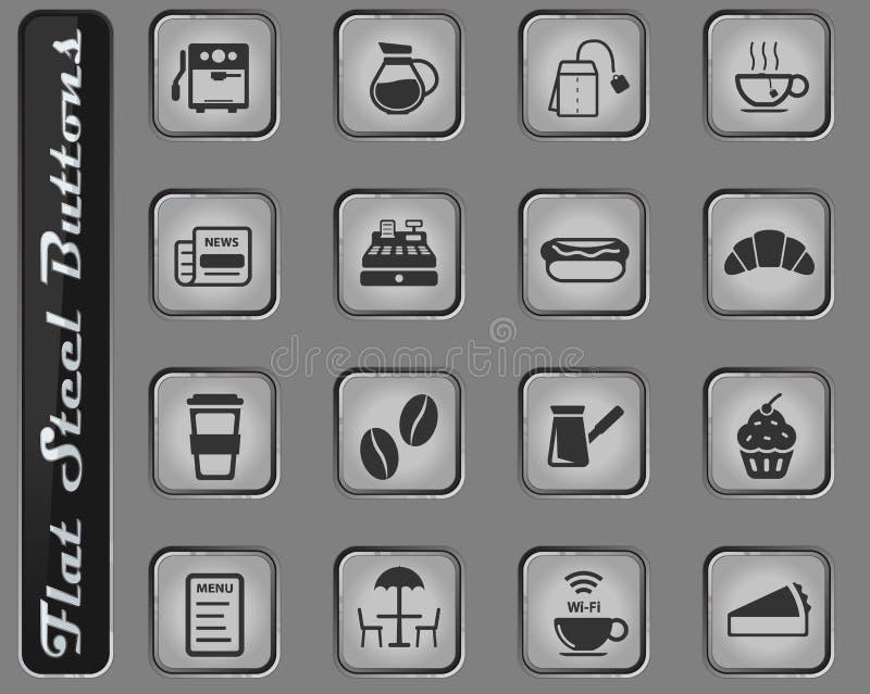 Kawiarni po prostu ikony royalty ilustracja