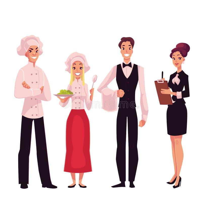 Kawiarnia lub restauraci drużyna szef kuchni, kucharz, kelner i kierownik -, ilustracja wektor