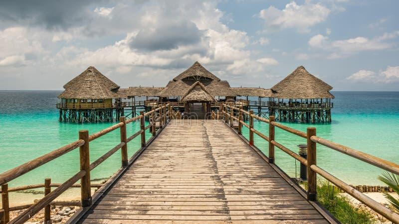 Kawiarnia na wodzie w Zanzibar, Tanzania fotografia stock