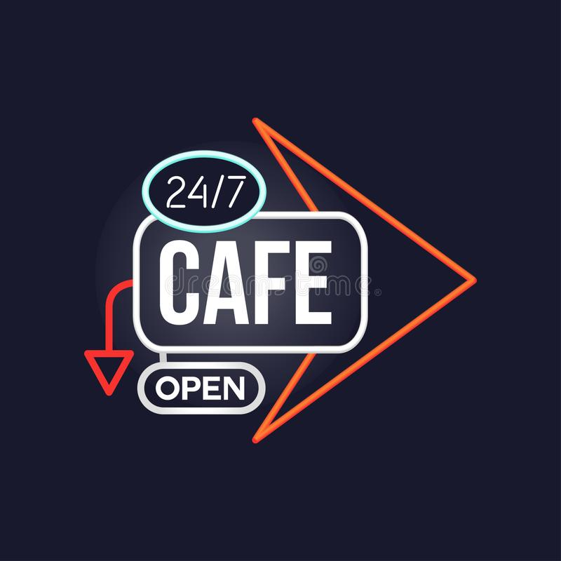 Kawiarnia otwiera 24 7 retro neonowego znaka, rocznika jaskrawy rozjarzony signboard, lekka sztandaru wektoru ilustracja royalty ilustracja