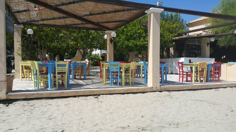 Kawiarnia przy baech, Grecja fotografia royalty free