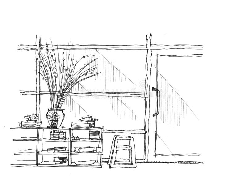 Kawiarnia sklepu przodu szklanej ręki rysunkowa ilustracja royalty ilustracja