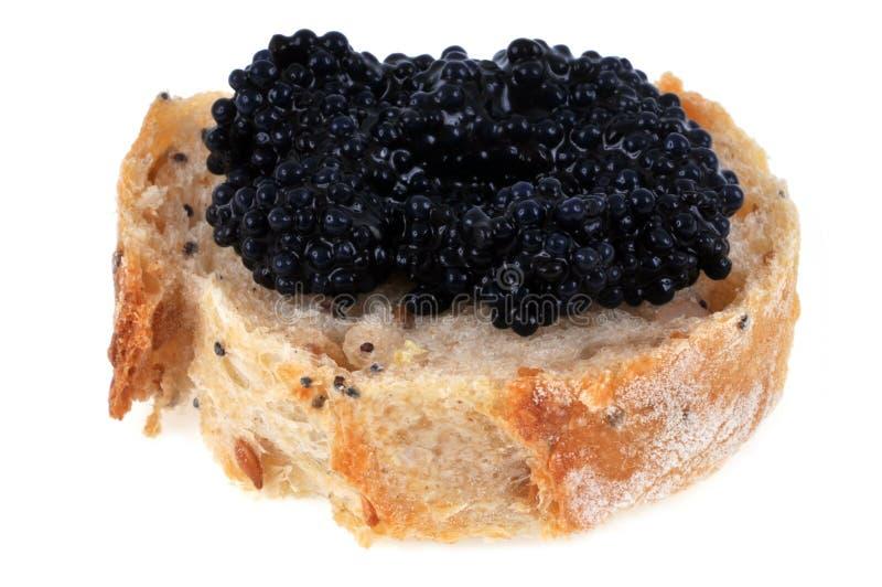 Kawior na plasterku chleb na białym tle fotografia royalty free