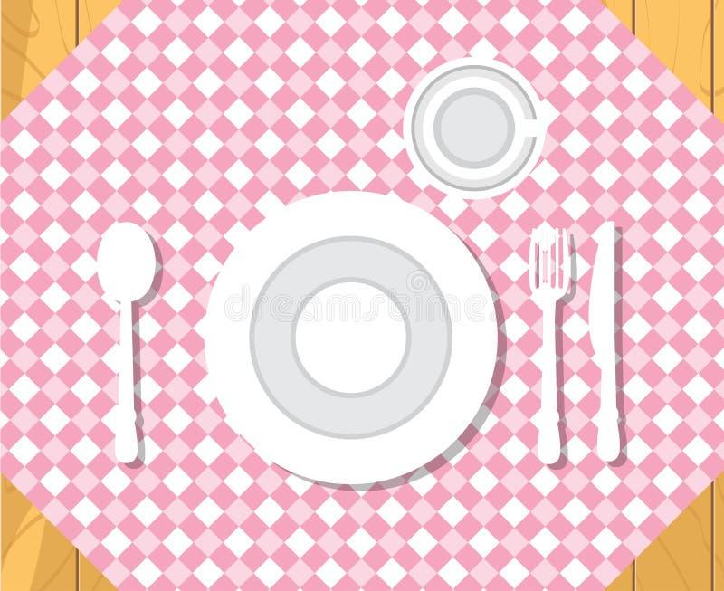 kawioru obiadowych blinów stołowy tablecloth formalne ustalenie obiad Odosobniony mieszkanie stylu wektor ilustracja wektor