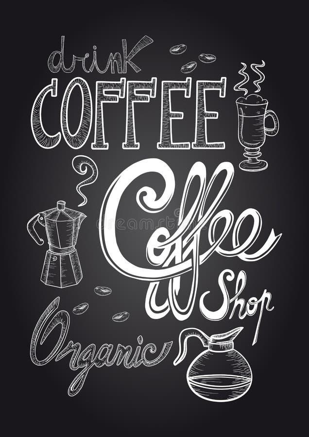 Kawowa chalkboard ilustracja ilustracja wektor