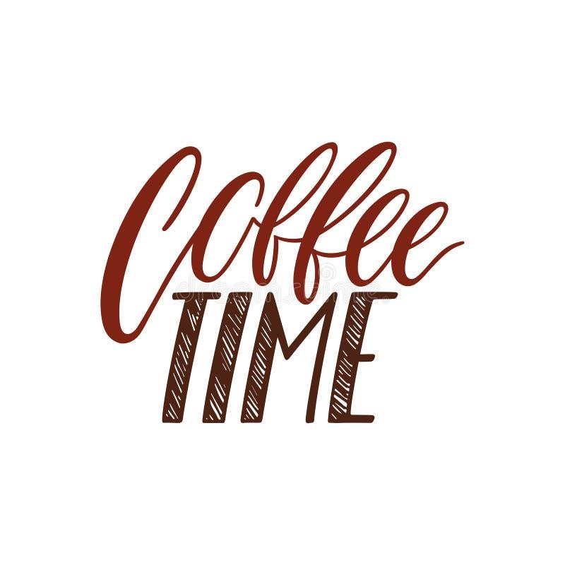 Kawowa czas kaligrafia ilustracja wektor