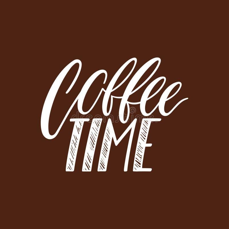 Kawowa czas kaligrafia royalty ilustracja
