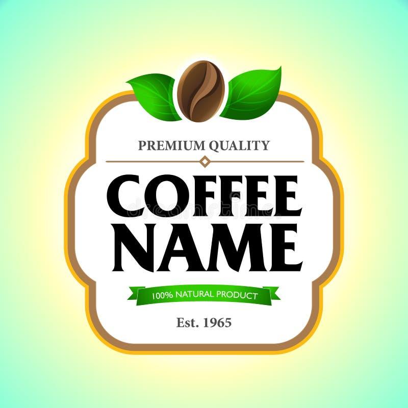 Kawowa etykietka, majcheru szablon Pakować projekt dla kawy ilustracja wektor