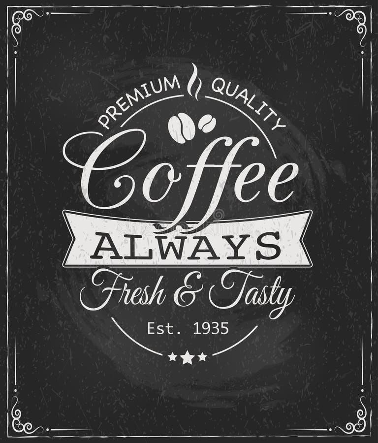 Kawowa etykietka na chalkboard royalty ilustracja