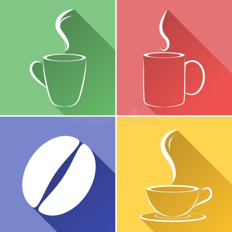 Kawowa fasola i filiżanka w graficznym projekcie ilustracji