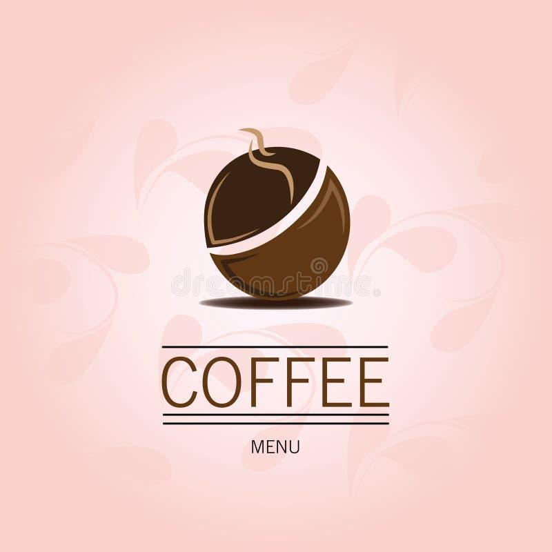 Kawowa fasola na różowym tle ilustracja wektor