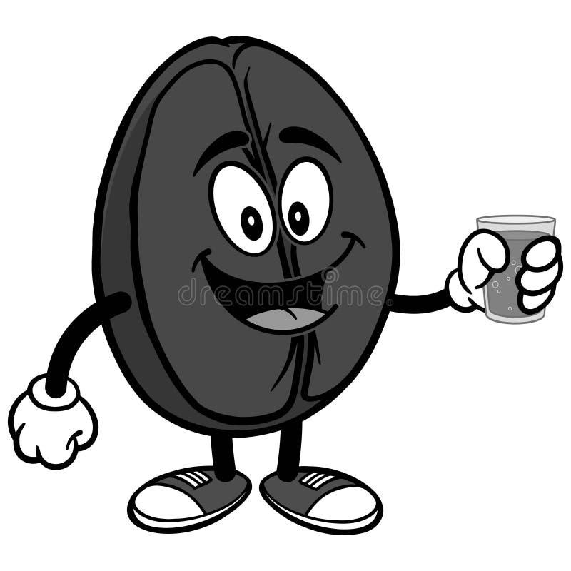 Kawowa fasola z Wodną ilustracją ilustracji