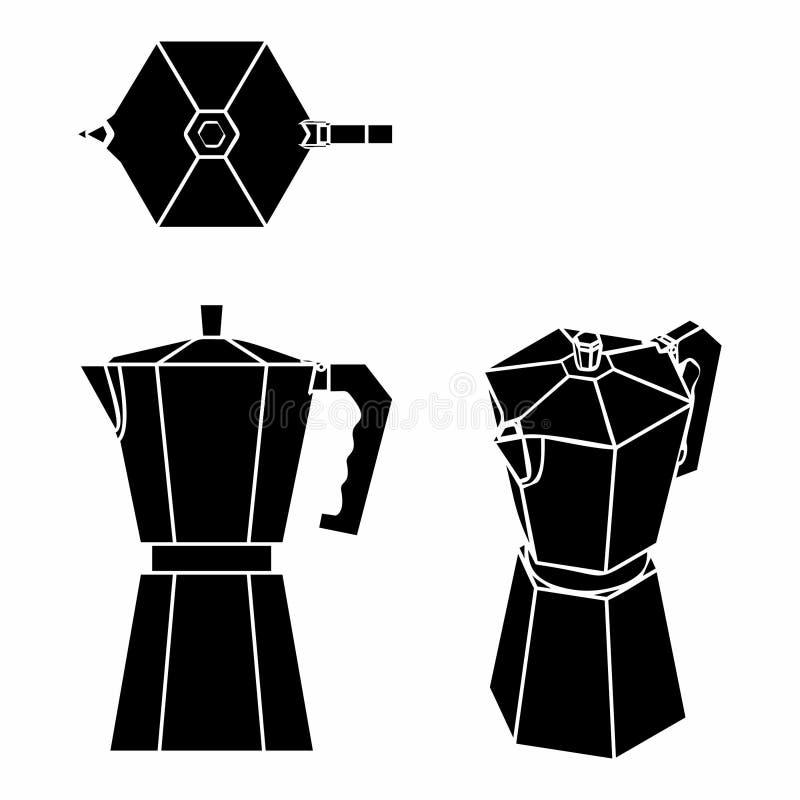Kawowa garnka czerni pełnia ilustracja wektor