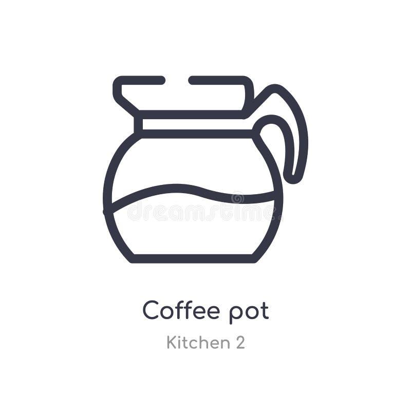 Kawowa garnka konturu ikona odosobniona kreskowa wektorowa ilustracja od kuchni 2 kolekcji editable cienkiego uderzenia garnka ka ilustracja wektor