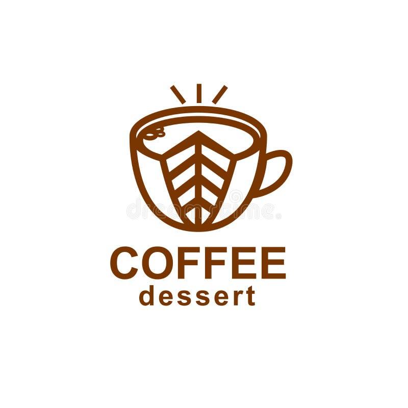 Kawowa i deserowa ikona Liniowy elegancki logo dla kawiarni lub cafeter zdjęcia royalty free