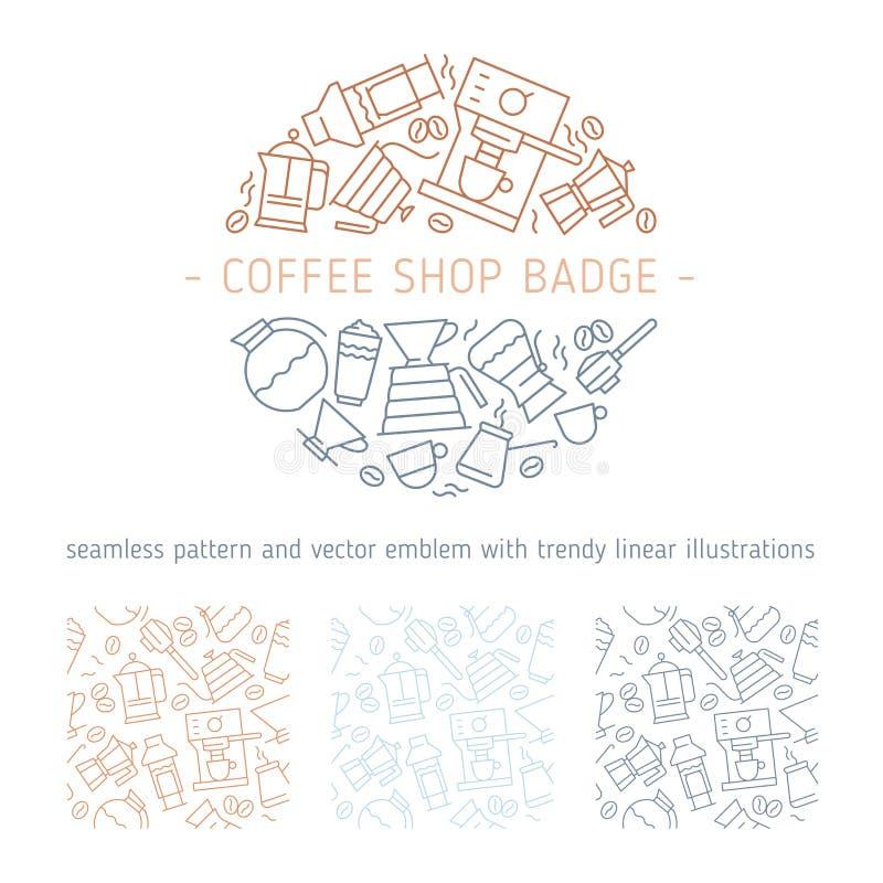 Kawowa ikona z cienką kreskowego stylu odznaką royalty ilustracja