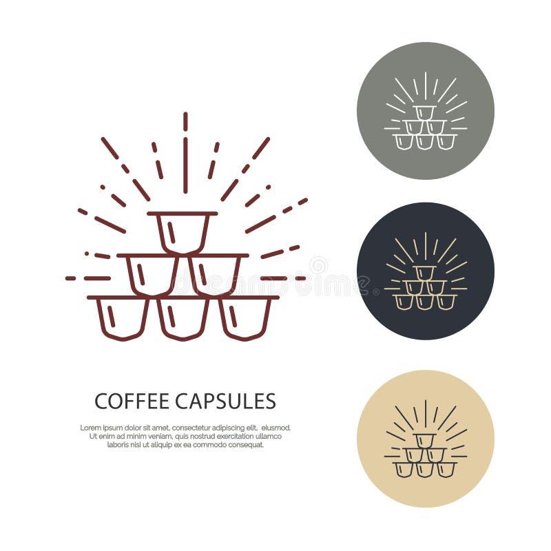Kawowa kapsuła wektoru linii ikona Barista wyposażenia liniowy logo Zarysowywa symbol dla kawiarni, zakazuje, robi zakupy, royalty ilustracja