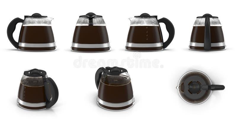 Kawowa karafka odpłaca się set od różnych kątów na bielu ilustracja 3 d ilustracji