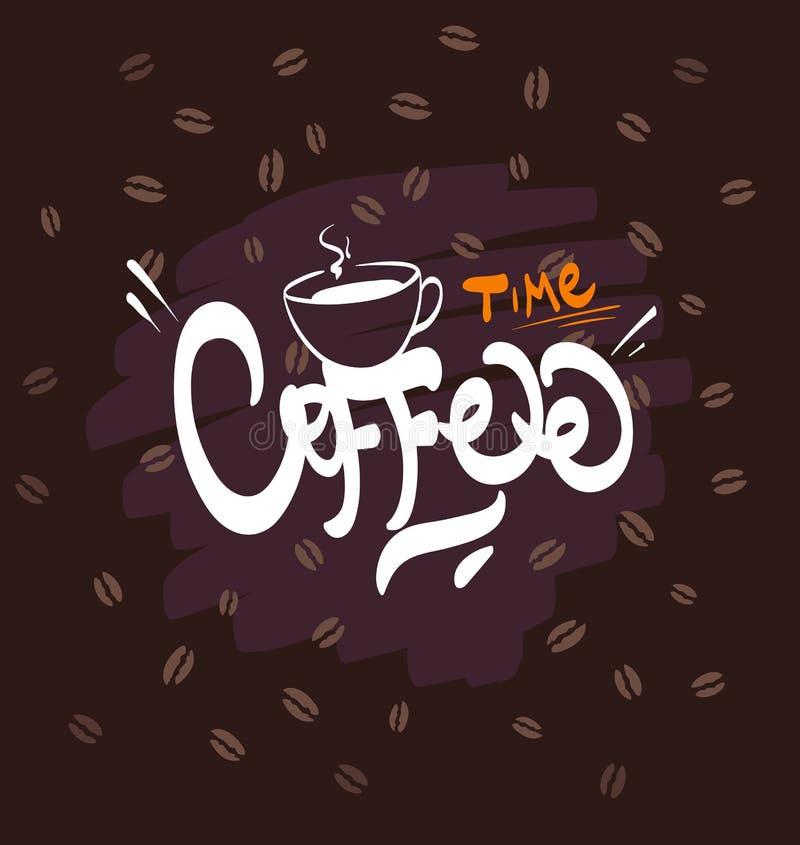 Kawowa logo ilustracja, grunge tło ilustracja wektor