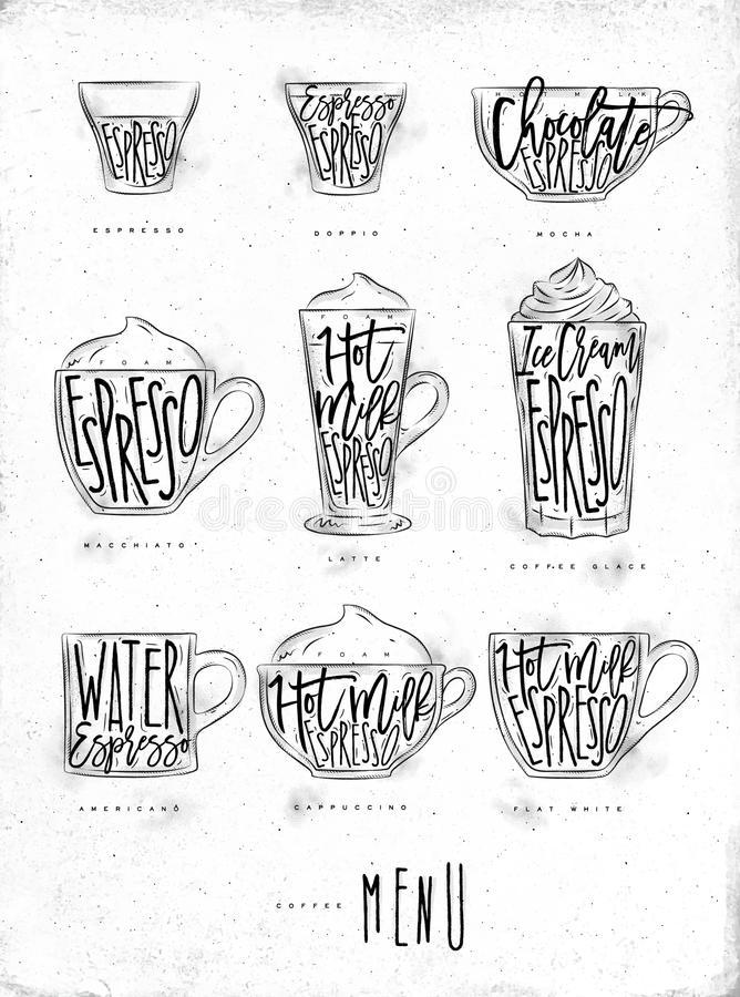 Kawowa menu grafika royalty ilustracja