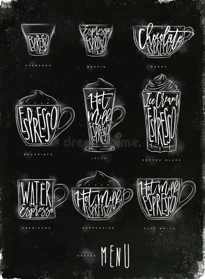 Kawowa menu grafiki kreda royalty ilustracja