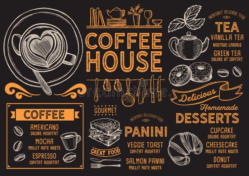 Kawowa menu restauracja, napoju szablon ilustracja wektor