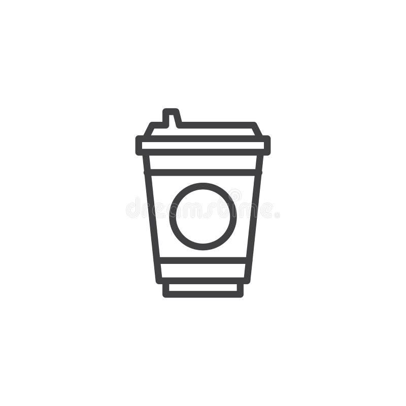 Kawowa Plastikowa fili?anki linii ikona ilustracji
