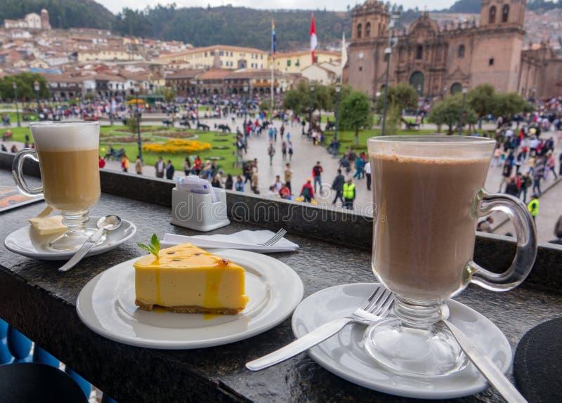 Kawowa przerwa i widok Plac De Zbrojący obraz stock
