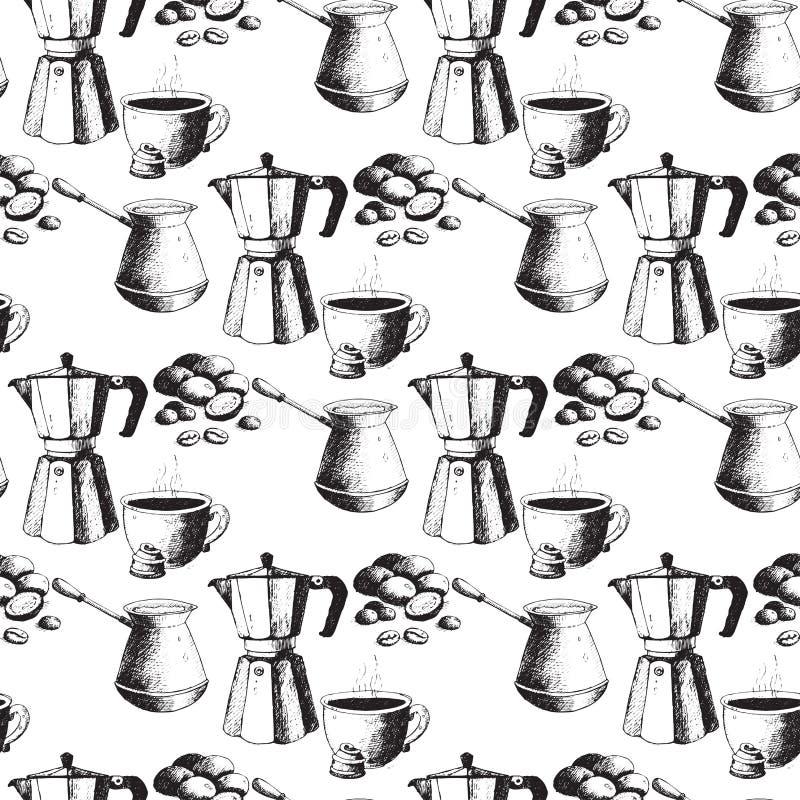 Kawowa ręka rysujący produkci tła rocznika rysunku bezszwowego deseniowego napoju nakreślenia deseru retro cukierniany wektor royalty ilustracja