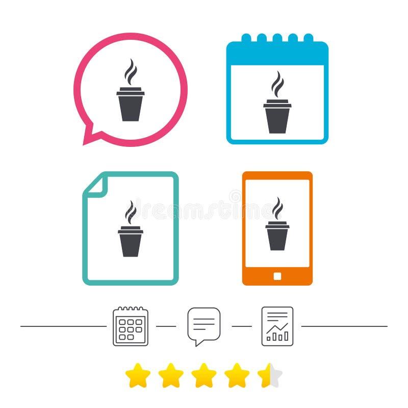 Kawowa szkło znaka ikona Gorący kawowy guzik ilustracja wektor