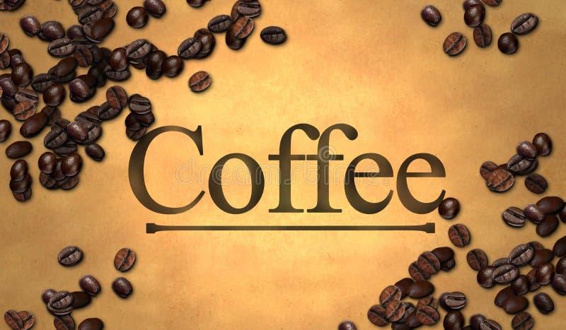 Kawowa tekst fasola na Starym papierze ilustracja wektor