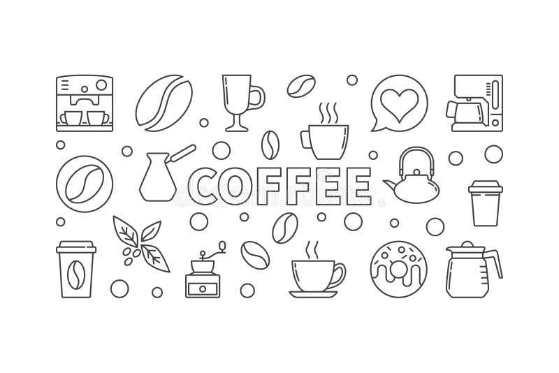 Kawowa wektorowa horyzontalna ilustracja Wektorowy pojęcie sztandar ilustracji